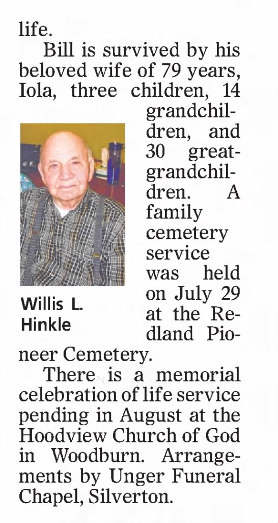Obituary Willis Lawrence Hinkle part 2 - l ife. Bill is survived by his b eloved wife of...