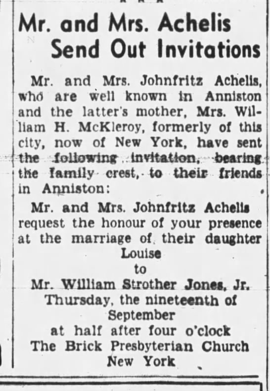 3 sep 1946 musgrove - . Mr. and Mrs. Achelis Send Out Invitations Mr....