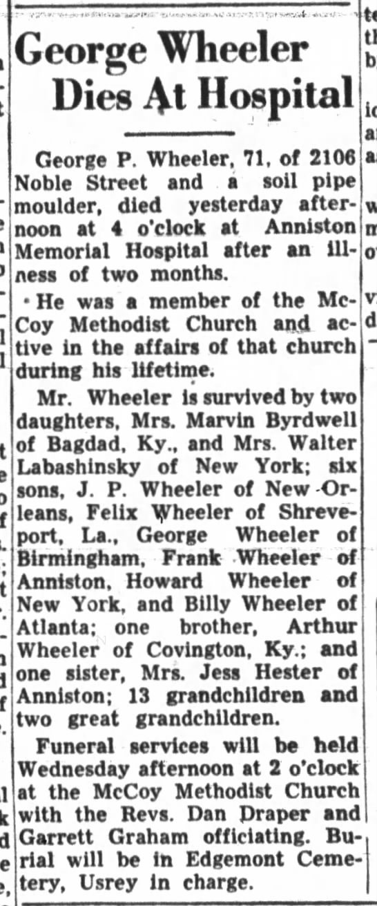 George P Wheeler obituary - George Wheeler Dies M Hospital George P....