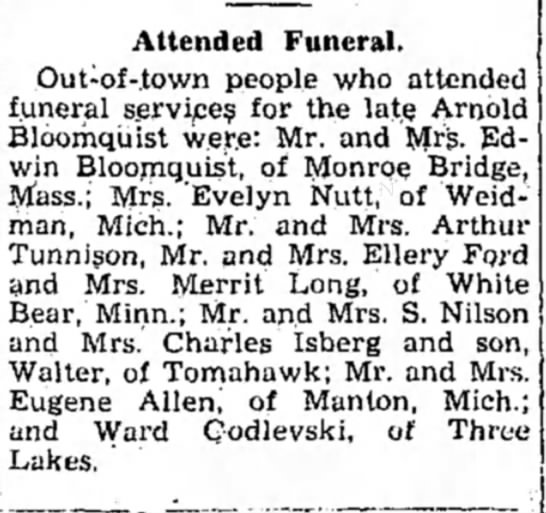 Rhinelander Daily News 9 Jul 1938 - Attended Funeral. Out-of-town people who...