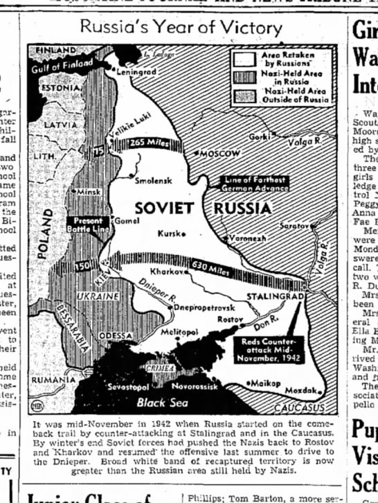 1943 Russia Muscatine News Tribune 11.11.1943 - children fall and the Bible at been w-ent to...