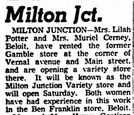 Janesville Daily Gazette 8 Aug 1952 - Milton Jet. MILTON JUNCTION—Mrs. Lilah Potter...