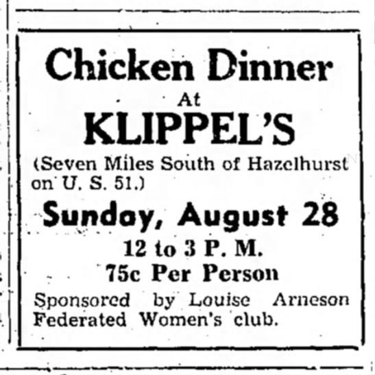 Klippel chicken dinner ad - Chicken Dinner At KLIPPEL'S (Seven Miles South...