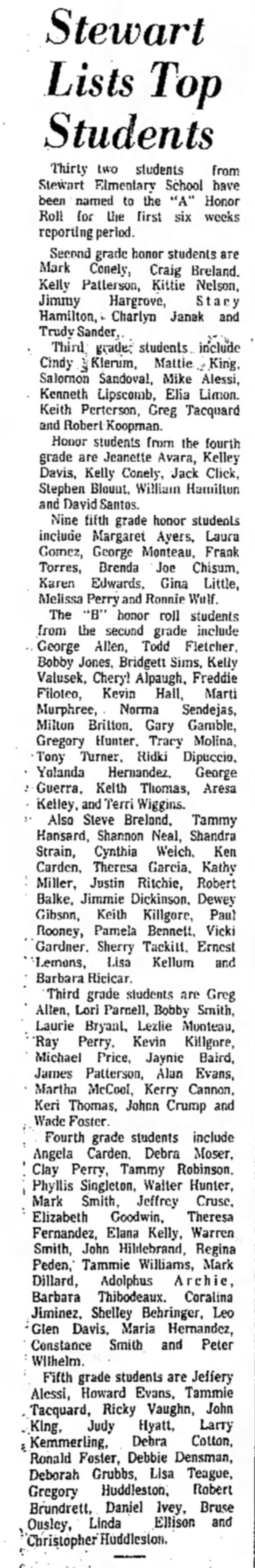 Honor Roll - 1970