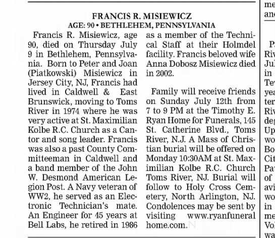 joan piatkowski misiewicz, mother...of deceased 2015 - Francis R. Misiewicz, age 90, died on Thursday...