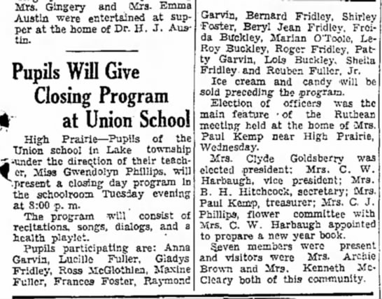 Student Program 17 May 1935 Union School in Lale township