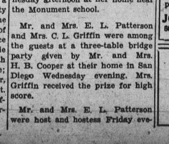 Lottie Couts mention part 1 - of the Monument school. Mr. and Mrs. E. L....