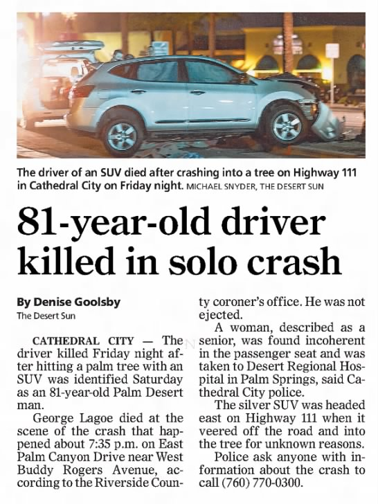 George LaGoe - The driver of an SUV died after crashing into a...