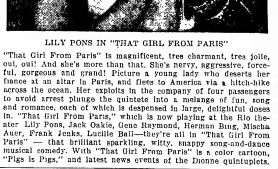 "PONS-13 - scale LILY PONS IN ""THAT GIRL FROM PARIS"" ""That..."