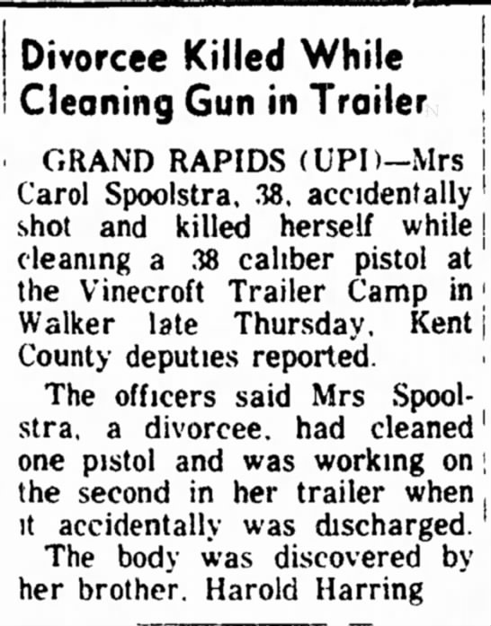 - Divorcee Killed While Cleaning Gun in Trailer...