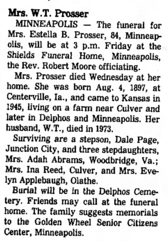 Estella Prosser obit