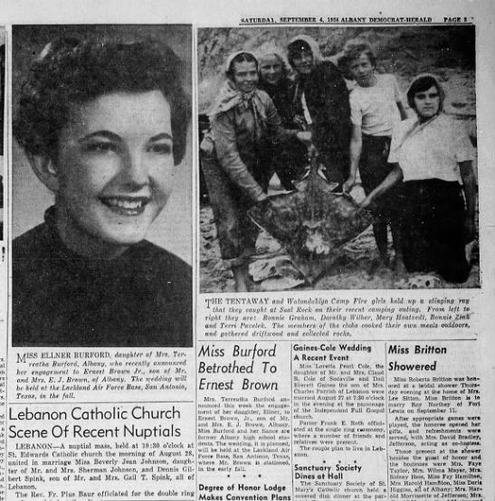 4 Sep 1954 Miss Ellener Burford Betrothed to Ernest Brown - J a Bloom-field, I j4 c :.f.HIa j' srr X...
