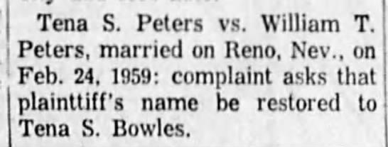 Clip-ADH30Mar1960 Peters Div - Tena S. Peters vs. William T. Peters, married...