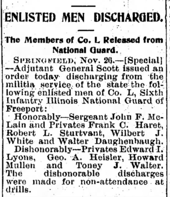 Walter Daughenbaugh honorably discharged from Illinois National Guard - ENLISTED MEN DISCHARGED. The Members of Co. L...