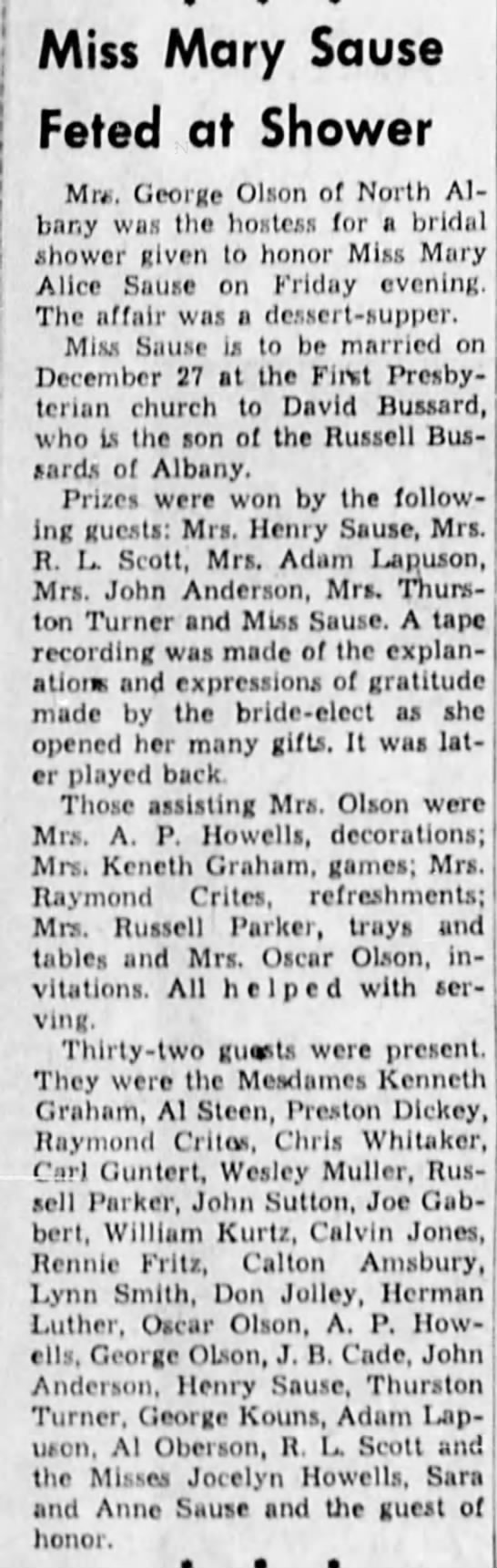 1952-12-6 Shower for Mary Alice Sause - Miss Mary Sause Feted at Shower Mr. George...