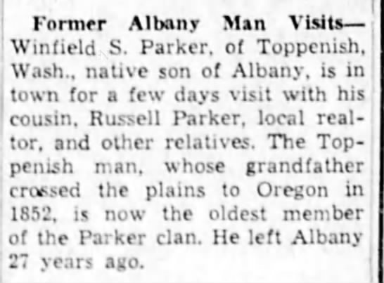 1952-12-9 Winfield visits - Former Albany Man Visits Wintield S. Parker, of...