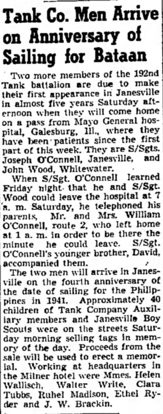 O'Connell/Wood - Tank Co. Men Arrive on Anniversary of Sailing...