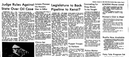 Legislature to back pipeline to Kenai?; Judge rules against state over oil case, 24 January 1983 - Judge Rules Against State Over Oil Case Juneau...