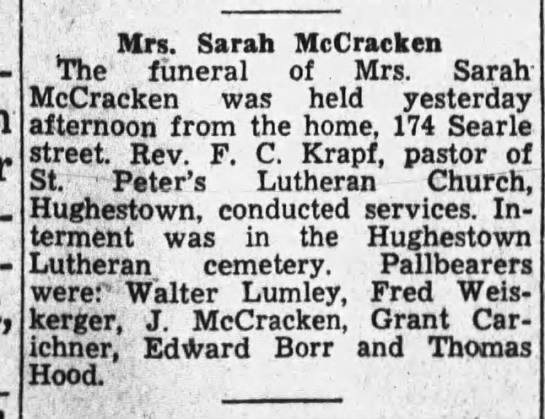 Mrs. Sarah McCracken funeral 1944 - Mrs. Sarah McCracken The funeral of Mrs. Sarah...