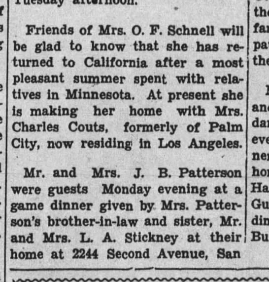 Lottie Couts and Patterson - Friends of Mrs. O. F. Schnell will be glad to...