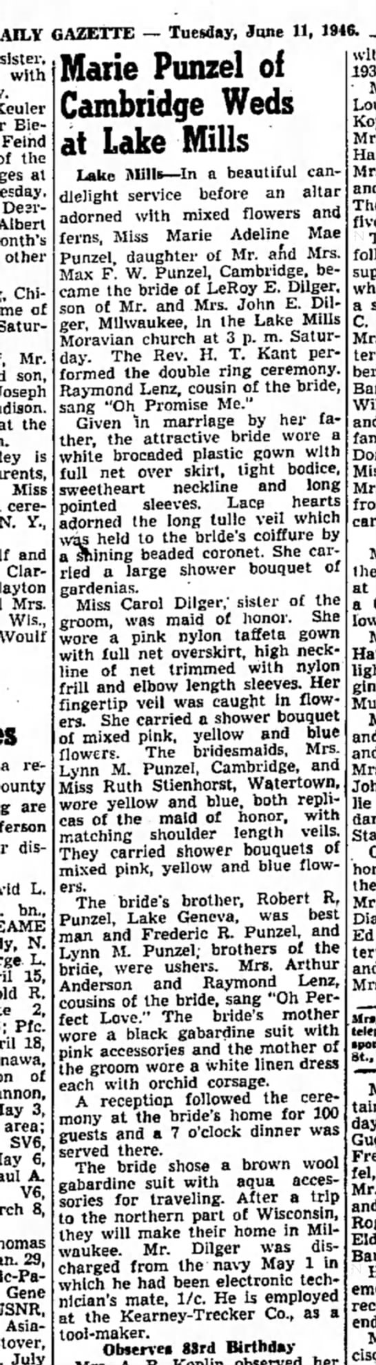 Punzel. Marie wed to Mr. Dilger - DAILY GAZETTE — Tuesday, June 11, 1946. sister,...