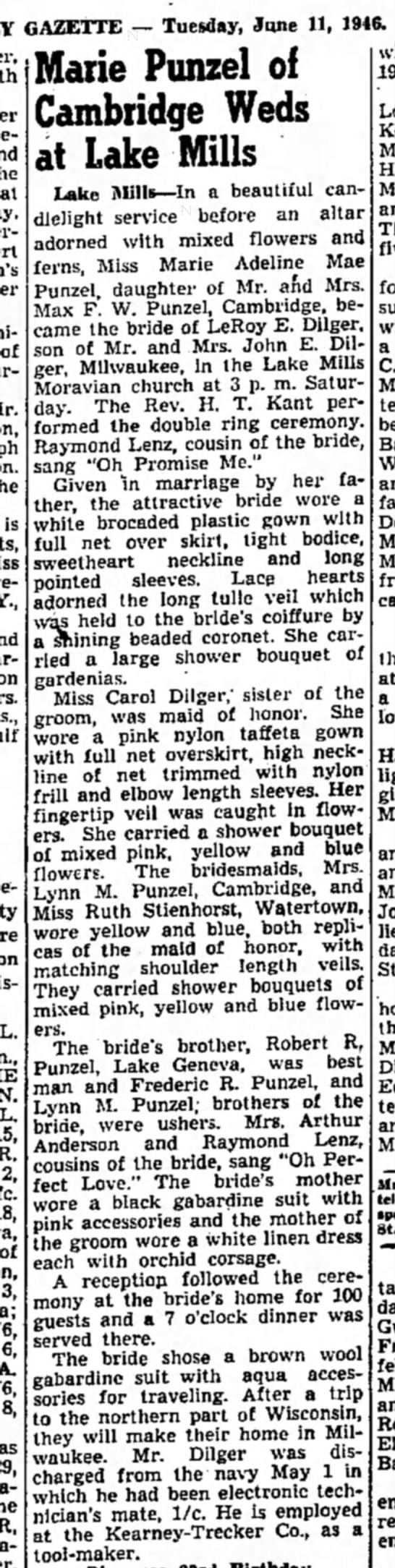 - GAZETTE — Tuesday, June 11, 1946. at of son, is...