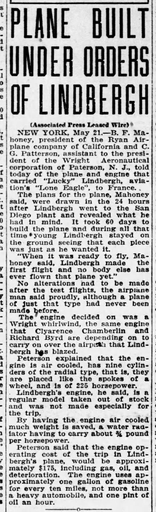 Plane built under orders of Lindbergh