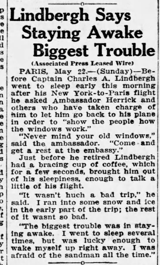 Lindbergh says staying awake was biggest trouble on transatlantic flight - a - Lindbergh Says Staying Awake Biggest...