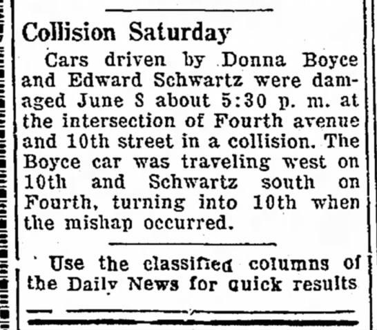 - Collision Saturda3 r Cars driven by Donna Boyce...