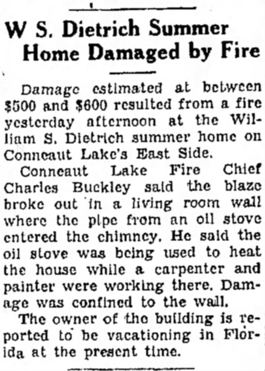 Record Argus 3/4/1952 Charles Buckley - ' W S. Dietrich Summer Home Damaged by Fire...