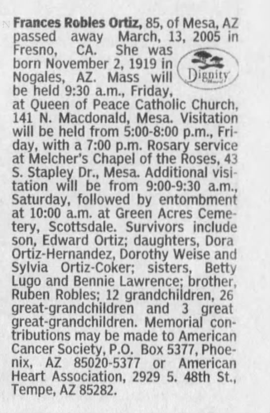 Frances Robles Ortiz Obit - Frances Robles Ortiz, 85, of Mesa, AZ passed...