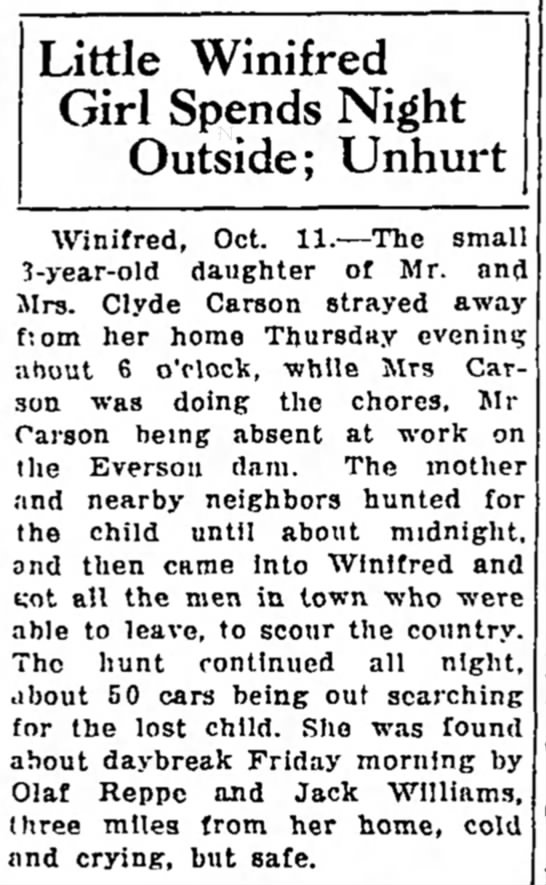 Nellie Smith Carson - Little Winifred Girl Spends Night Outside;...