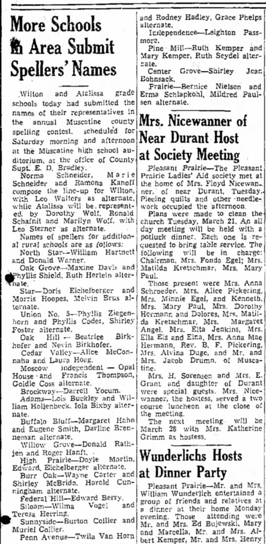 Lois Buckley spelling bee--16 March 1939 - More Schools fe Area Submit Spellers' Names...