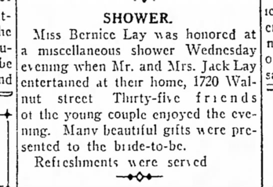 Bernice Lay - Saturday, The a musical be and SHOWER. Miss...