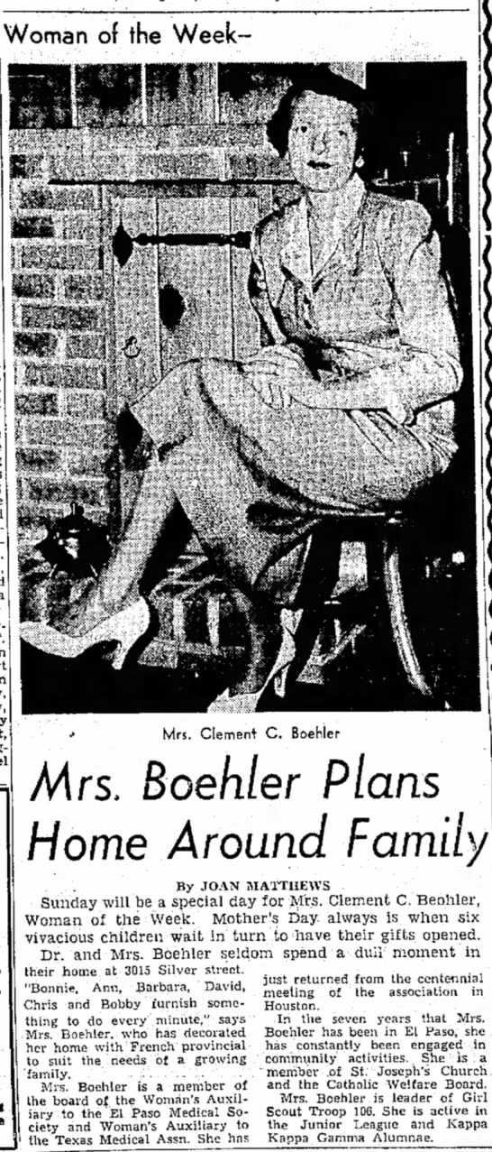 Mrs. Clement Boehler - y Woman of the Week- Mrs. Clement C. Boehler...