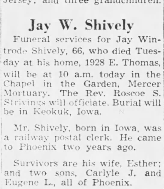 - Jay W. Sliively Funeral services for Jay Win-...