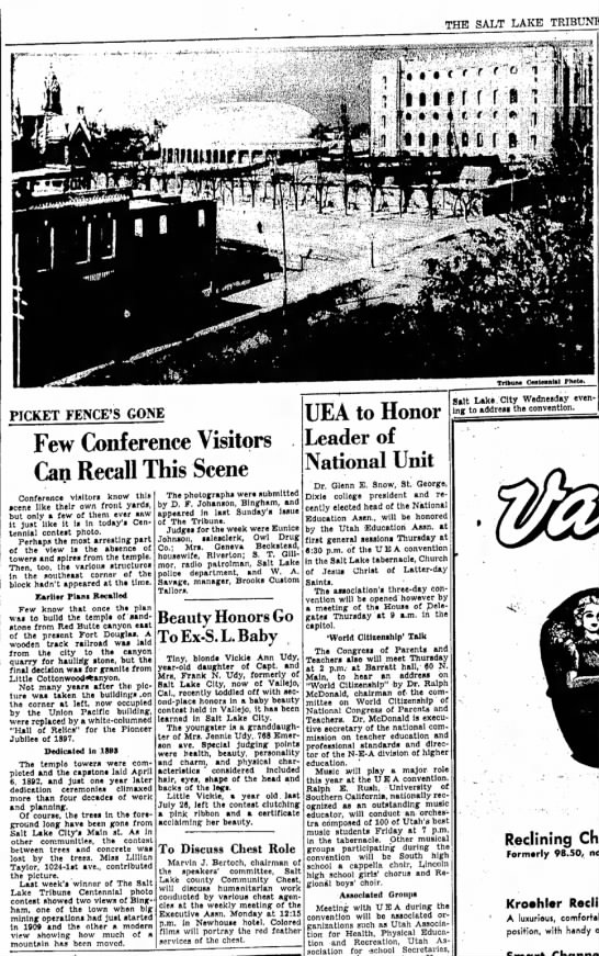 1947 Dee Johanson submits old Temple photo - THE SALT LAKE TRIBUNE, TribuiM Ont«in«»l Photo...