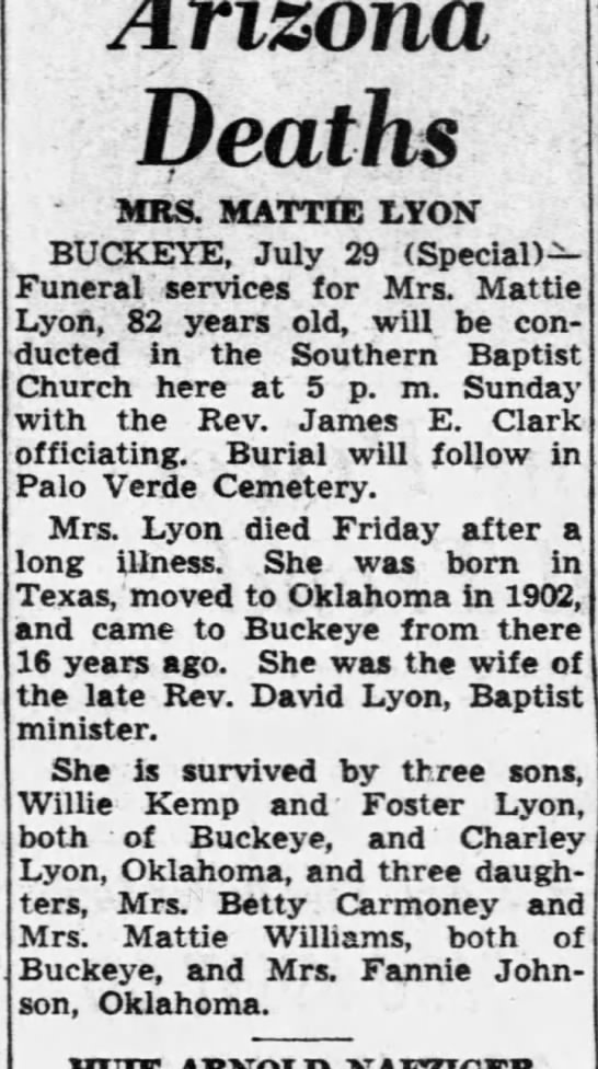 "Obit for Martha Ellen ""Mattie"" (Latham) Kemp Lyon 1868-1950 - Deaths J MRS. MATTIE LYON BUCKEYE, July 29..."