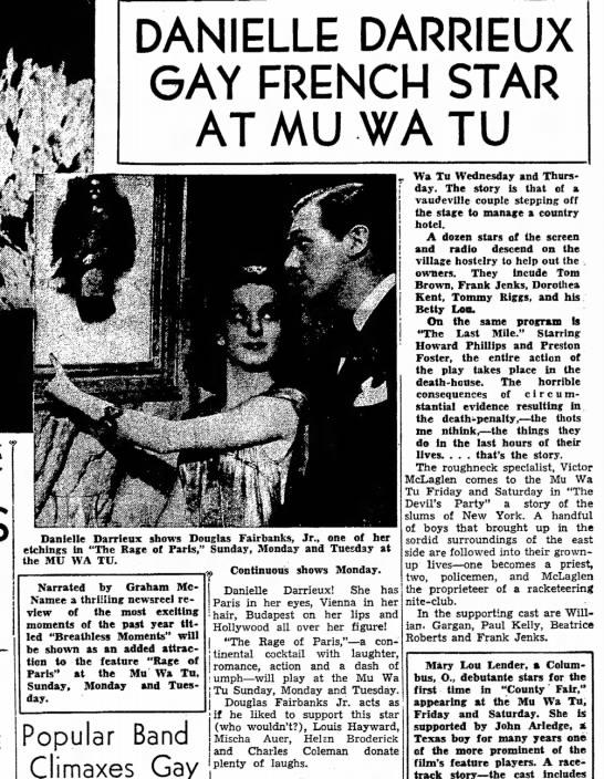DARRIEUX  SEP 1938 - DANIELLE DARRIEUX 6AY FRENCH STAR AT MU WA TU...