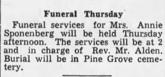 Sponenberg, Annie - Funeral Thursday Funeral services for Mrs....