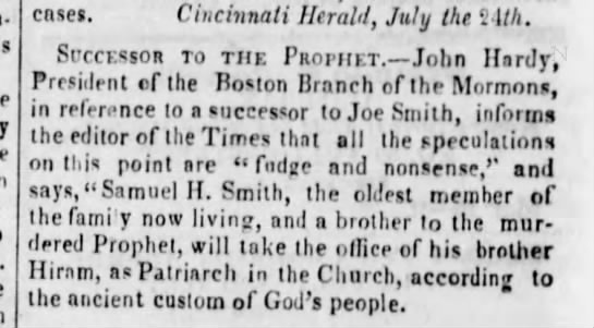 Confusion on the next mormon prophet - cases. Cincinnati Herald, July the 2 1M....