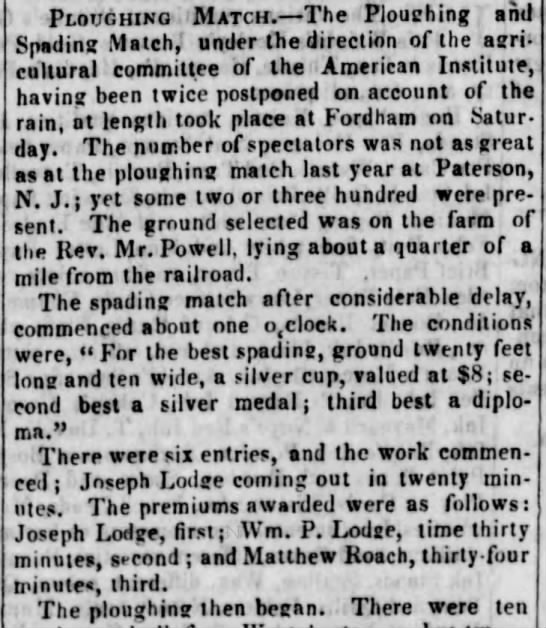 Could this be our Matthew Roach - winning a 'spading match' in Brooklyn in 1844? - Ploughing Match. The Ploughing and Snading...
