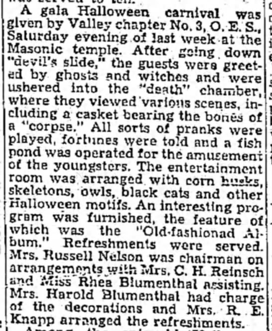 Mrs. C. H. Reinsch - A gala Halloween carnival wa given by Valley...