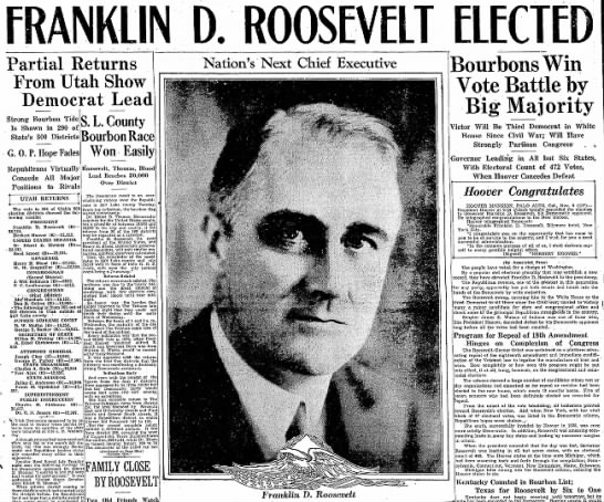 Franklin D. Roosevelt Elected - Partial Returns From Utah Show Democrat Lead S....