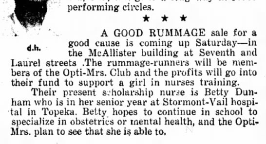 Betty-OB Nurse - performing circles. * * * d.h. A GOOD RUMMAGE...
