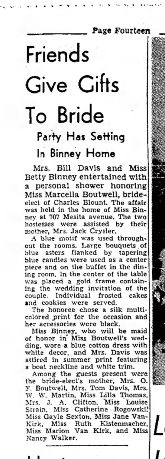 Betty Binney and Mrs. Bill Davis aug 20 1953 - Page Fourteen Friends Give Gifts To Bride Party...