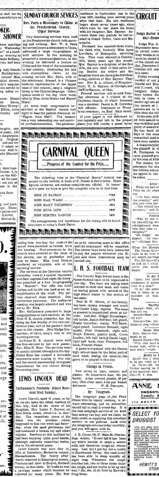 Lewis Lincoln9 Oct 1905Daily Free Pressp 2 - well for th watchful eye o SHOWER marriagi...