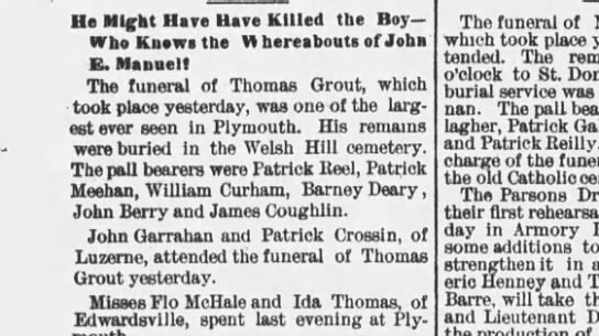 thomas grout welsh hill - Ha Might Have Have Killed the Boy Who Kuowi the...