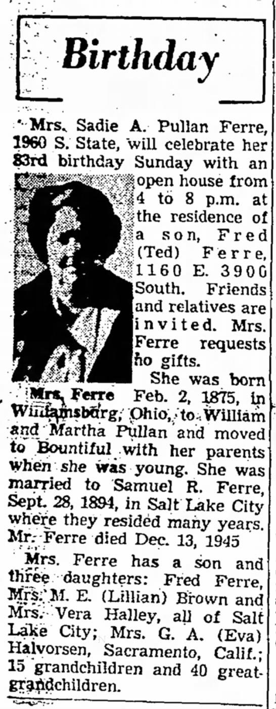 29 January 1958 - Birthday ••Mrs, Sadie A. Pullan Ferre, I960 S....