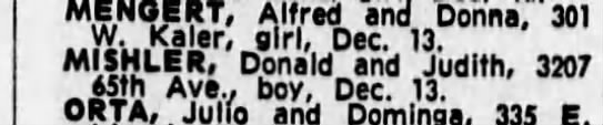 Donald Mishler/ Judith Archer - Dec-MENOERT, Alfred and Donna, 301 W. Kaler,...